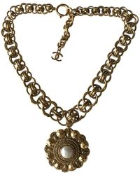 Chanel - Pre-owned Vintage Gold Metal Necklace - Lyst