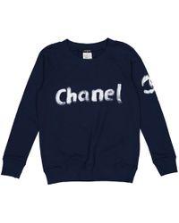 Chanel - Navy Cotton Knitwear - Lyst