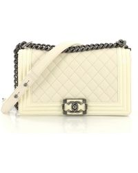 230f843d8594 Chanel - Pre-owned Boy White Leather Handbags - Lyst