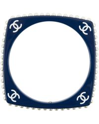 Chanel - Cc Resin Faux Pearl Square Bangle Bracelet - Lyst