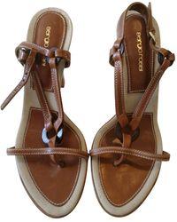 701549100765 Lyst - Sergio Rossi Leather Ankle Wrap Block Heel Platform Sandals ...