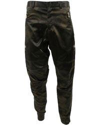 Balmain Pantalons en Coton Vert - Noir