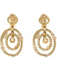 c798fa4a7 Oscar de la Renta Crystal Fringe Fan Drop Earrings in Metallic - Lyst