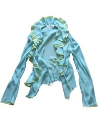 Dior - Pre-owned Turquoise Silk Top - Lyst