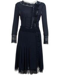 Valentino - Vintage Navy Silk Dress - Lyst
