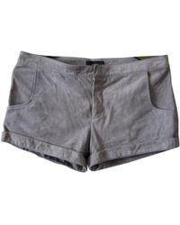 JOSEPH - Grey Suede Shorts - Lyst