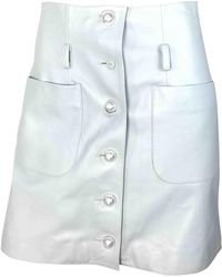 Chanel - Blue Leather Skirt - Lyst