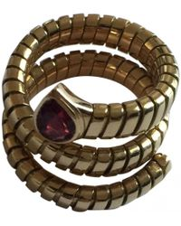 BVLGARI - Pre-owned Vintage Serpenti Pink Yellow Gold Ring - Lyst