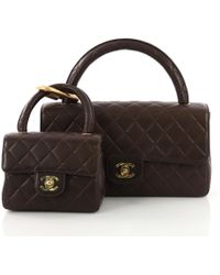 Chanel - Pre-owned Vintage Brown Leather Handbags - Lyst