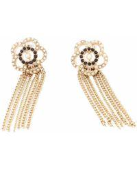 Chanel - Camélia Gold Metal Earrings - Lyst