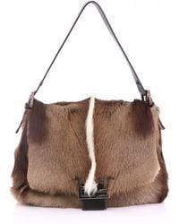 79a08d863eca Lyst - Fendi Striped Fur Shoulder Bag in Brown