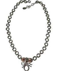 Dior - Silver Metal Necklace - Lyst