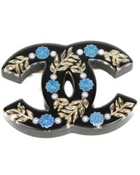 Chanel - Black Plastic Pins & Brooches - Lyst
