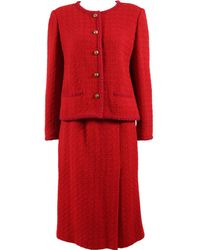 Chanel - Pre-owned Vintage Red Wool Jackets - Lyst