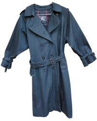 Burberry - Pre-owned Vintage Navy Polyester Trench Coat - Lyst
