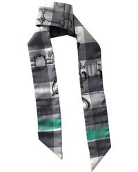7213e6ed2869 Hermès Black Twilly Signature Print Neck Tie Scarf in Black - Lyst