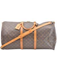 Lyst - Louis Vuitton Keepall Cloth Travel Bag in Gray 58f69b60e4780