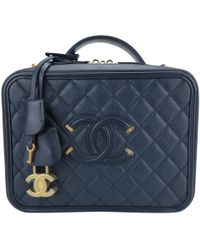 Chanel - Pre-owned Vanity Navy Leather Handbags - Lyst