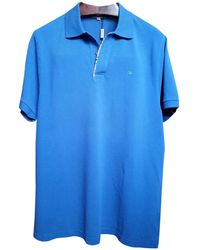 Burberry - Blue Cotton Polo Shirts - Lyst