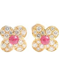 Van Cleef & Arpels - Pre-owned Vintage Fleurs Yellow Yellow Gold Earrings - Lyst