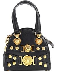66ab96de515f Lyst - Versace Double Top-handle Leather Bag in Black