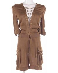 Balmain - Pre-owned Brown Viscose Jumpsuits - Lyst