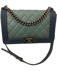 481933b17080 Lyst - Chanel Boy Leather Crossbody Bag in Green