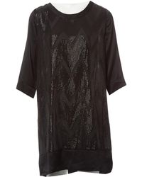 L'Agence - Black Silk Dress - Lyst