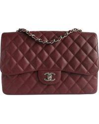 Chanel - Timeless/classique Burgundy Leather Handbag - Lyst