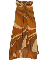 Céline - Pre-owned Orange Silk Dress - Lyst