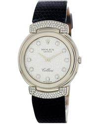 Rolex Cellini Black White Gold