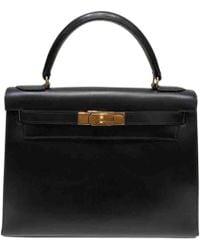 181412c4849b Hermès - Pre-owned Vintage Kelly 28 Black Leather Handbags - Lyst