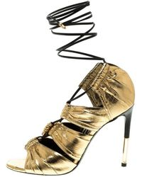 51930441e343 Lyst - Tom Ford Patchwork Metallic Leather and Velvet Sandals