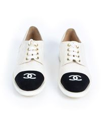 Chanel White Cloth Lace Ups