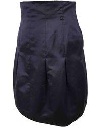 Chanel - Navy Silk Skirt - Lyst