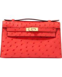 f6ca7f41fe3979 Vestiaire Collective · Hermès - Kelly Clutch Red Ostrich Clutch Bag - Lyst
