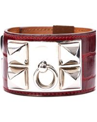Hermès - Collier De Chien Burgundy Crocodile Bracelets - Lyst