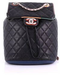 cc39a3b8b074 Chanel - Pre-owned Black Leather Backpacks - Lyst
