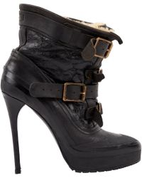 Burberry - Leather Buckled Boots - Lyst