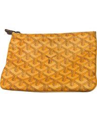 Goyard - Pre-owned Sénat Yellow Cloth Purses, Wallets & Cases - Lyst