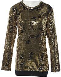 Balmain - Gold Cotton Top - Lyst