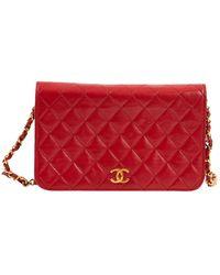 Chanel Bolsa de mano en cuero rojo