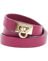 Ferragamo - Burgundy Leather Bracelets - Lyst