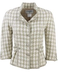 Chanel - Beige Silk Jacket - Lyst