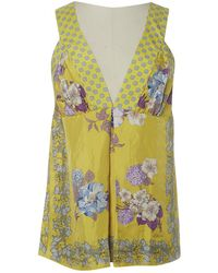 Etro - Yellow Silk Top - Lyst