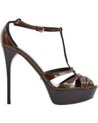 764b4a5c3ed7 Burberry Buckle Detail Suede Sandals in Gray - Lyst