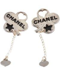 Chanel - Silver Earrings - Lyst
