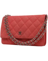 d35ffb3cb1bb Lyst - Chanel Wallet On Chain Leather Crossbody Bag in Gray