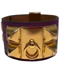 Hermès - Pre-owned Collier De Chien Purple Leather Bracelets - Lyst