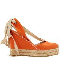 Ralph Lauren Collection - Orange Cloth Heels - Lyst